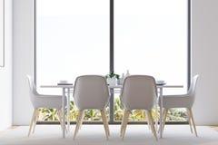 Witte minimalistic eetkamer Royalty-vrije Stock Fotografie