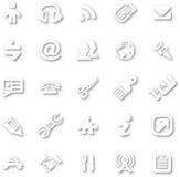 Witte minimalistische pictogramreeks Stock Foto's