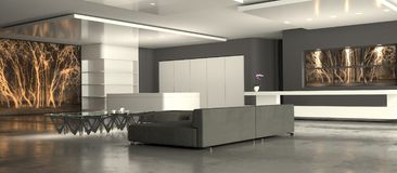 Witte minimalistische woonkamer Stock Afbeelding