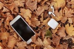 Witte mobiele telefoon met oortelefoons/hoofdtelefoons op een achtergrond van gele bladeren stock afbeelding