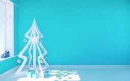 Witte moderne Kerstboom in blauwe lege ruimte met leefruimte Royalty-vrije Stock Afbeeldingen