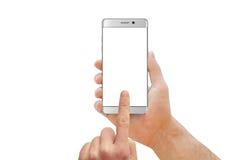 Witte moderne smartphone met gebogen rand in mensenhand stock afbeeldingen