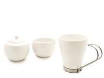 Witte moderne thee-reeks stock afbeeldingen