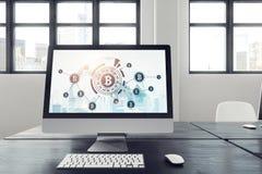 Witte monitor op zwarte lijst, bitcoin pictogram Stock Afbeeldingen