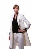 Witte mooie blonde bedrijfsvrouw Stock Fotografie
