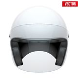 Witte motor klassieke helm met duidelijk glas Stock Afbeeldingen