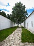Witte muren en groene boom in Suzdal, Vladimir-gebied, Rusland Royalty-vrije Stock Fotografie