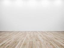 Witte muur en houten vloerachtergrond stock fotografie