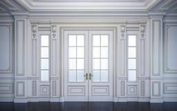 Witte muurpanelen in klassieke stijl met het vergulden het 3d teruggeven royalty-vrije illustratie
