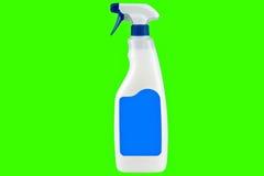 Witte nevel detergent fles met blauwe elementen Stock Fotografie