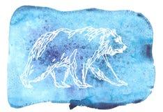 Witte noordelijk draagt op waterverfachtergrond Stock Afbeelding