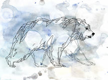 Witte noordelijk draagt op waterverfachtergrond Stock Foto