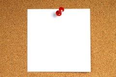 Witte nota met speld Stock Fotografie
