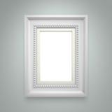 Witte omlijsting op grijze muur Stock Foto's