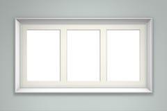 Witte omlijsting op grijze muur Stock Afbeelding