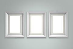 Witte omlijsting op grijze muur Royalty-vrije Stock Afbeelding