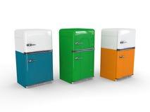 Witte, oranje, blauwe en groene retro ijskast Stock Foto