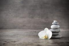 Witte orchidee en kuuroordstenen op de grijze achtergrond stock afbeeldingen
