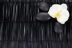 Witte orchidee met zenstenen op zwarte achtergrond royalty-vrije stock afbeelding