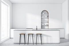 Witte overspannen keuken met witte bar royalty-vrije illustratie