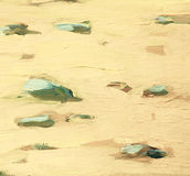 Witte overzeese zand en stenen op kust, het schilderen Stock Afbeeldingen