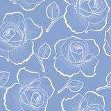 Witte overzichtsrozen op blauw naadloos patroon Royalty-vrije Stock Afbeelding