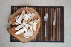 Witte paddestoelen op lijst Royalty-vrije Stock Afbeeldingen