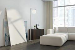 Witte panoramische dichte omhooggaand van de woonkameraffiche Stock Afbeelding