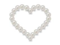 Witte parels in een hartvorm Royalty-vrije Stock Afbeeldingen