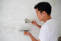 Witte parget op de muur royalty-vrije stock fotografie