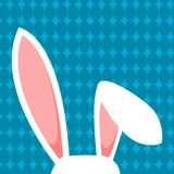 Witte Pasen Bunny Ears On Blue Background Royalty-vrije Stock Fotografie