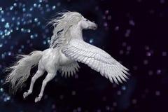 Witte Pegasus in Hemel Royalty-vrije Stock Fotografie
