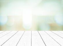 Witte perspectief houten en vage abstracte achtergrond met boke Royalty-vrije Stock Fotografie