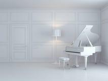 Witte piano in een wit binnenland Stock Afbeelding