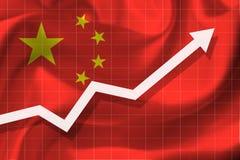 Witte pijl fgrowth omhoog op de achtergrond van de vlag China royalty-vrije illustratie