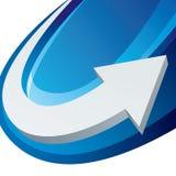Witte pijl op blauwe achtergrond Royalty-vrije Stock Afbeelding
