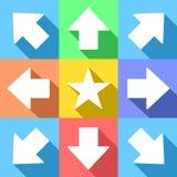Witte pijlen en ster voor navigatiemenu Stock Afbeeldingen
