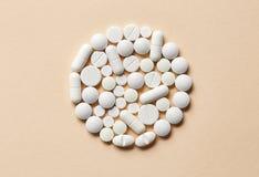 Witte pillenmacro Stock Afbeelding