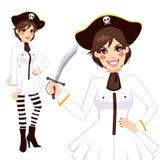 Witte Piraatvrouw Royalty-vrije Stock Afbeeldingen