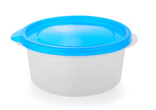 Witte plastic doos met blauwe cabine Royalty-vrije Stock Fotografie