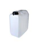 Witte plastic gallon met deksel op wit Stock Foto's