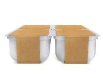 Witte plastic lege bank voor voedsel, olie, mayonaise, margarine, kaas, roomijs, olijven, groenten in het zuur, zure room met eco Stock Afbeelding