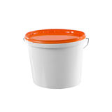 Witte plastic schilderscontainer - model met het knippen van weg stock foto