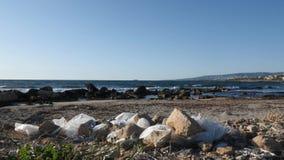 Witte plastic zakken op het zandige strand Het concept van de aardeveiligheid stock footage