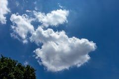 Witte, pluizige wolken in blauwe hemel Royalty-vrije Stock Afbeeldingen