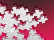 Witte pluses op rood Royalty-vrije Stock Afbeelding