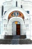 Witte portiek van de kerk Stock Foto's