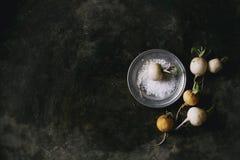 Witte radijs met zout Stock Fotografie