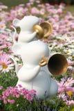Witte ratten in de lentetuin Stock Afbeeldingen