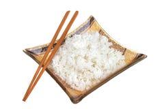 Witte rijst en stokken Stock Foto's